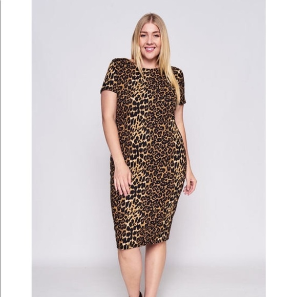 Dresses & Skirts - Black and Beige Leopard Print Dress